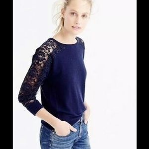 🆕JCrew Navy Lace Sleeve Sweater